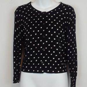 LOFT black/white polka dot cardigan size S
